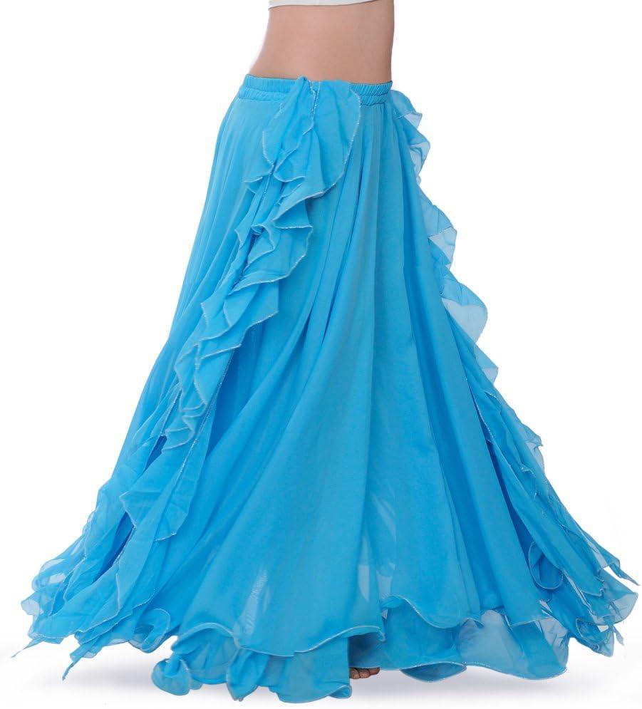 ROYAL SMEELA Jupe Longue Femme Costume Jupe Danse du Ventre Robe Gitane Danse Performance Pratique Jupes Mousseline V/êtements Costumes Danse Orientale