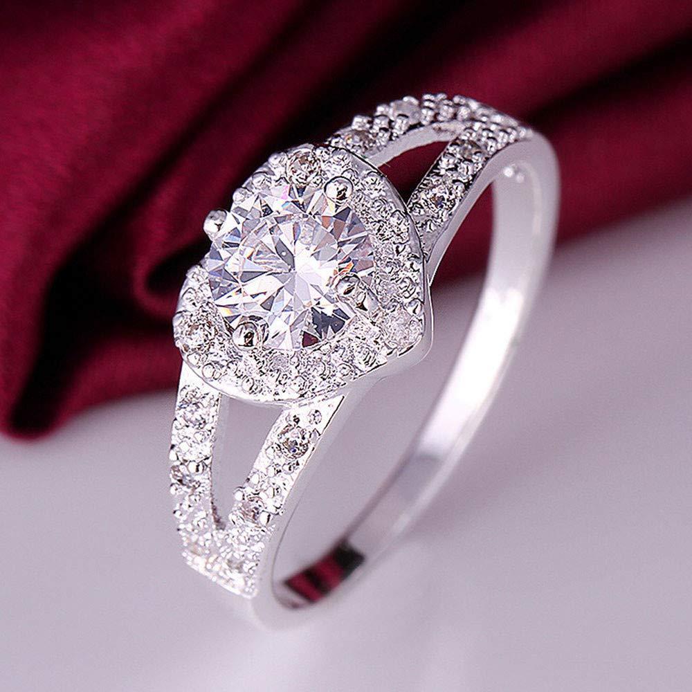 WoCoo Crystal Diamond-Set Heart Shape Alloy Rings for Women Girls(Silver,Size 9)