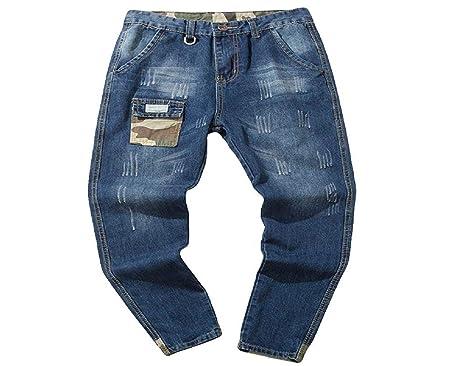 b178c2f423c6 Blau Jeanshosen Herren Manadlian Männer Biker Jeans Beiläufig Herbst Denim  Baumwolle Jahrgang Waschen Hiphop Arbeit Jeans
