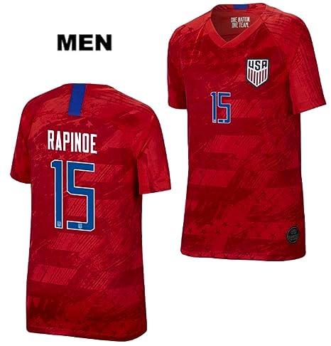 best sneakers 50195 46304 ZZXYSY Megan Rapinoe #15 2019 Women's World Cup USWNT Men's Away Soccer  Jersey/Short Colour Red