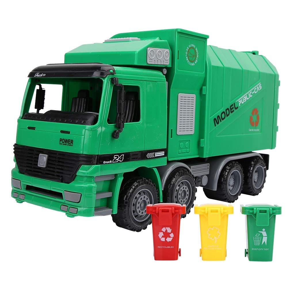 DIYARTS Garbage Truck Toy Simulation Inertie Assainissement Jouets Mod/èle Supports de Voiture avec Poubelle et Classification Carte de Bureau Jouet /éducatif