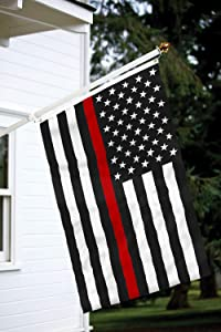 Toland Home Garden 3x5 ft Thin Red Line Polyester Flag with Brass Grommets and Double Stitched Reinforced Header
