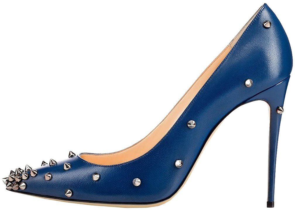 Calaier Mujer Casnowy Tacón De Aguja 12CM Sintético Ponerse Zapatos de Tacón 34.5|Azul