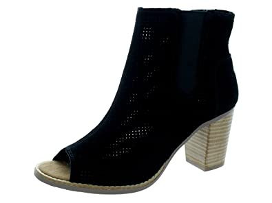 Amazon.com | Toms Black Suede Perforated Leaf Booties 10010013 ...
