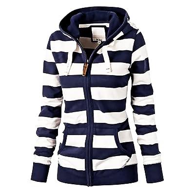 Hunleathy Women's Striped Lightweight Hoodies Zip up Active Sweatshirt