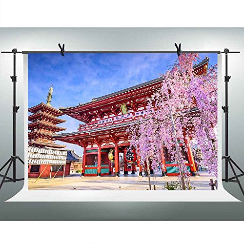 FHZON 10x7ft Japanese Red Antique Building Backgrounds for Photography Pretty Japan Cherry Blossoms Tower Landscape Backdrop Travel Themed Party YouTube Backdrops Photo Booth Props FH1334