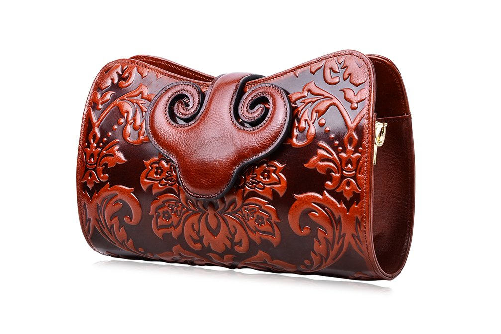 PIJUSHI Womens Crossbody Evening Bag Embossed Floral Party Purse Clutch Bags (22271, Brown)