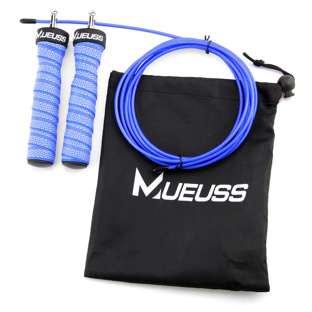 MUEUSS Jump Rope Adjustable Skipping Ropes-Comfortable /& Groove Sweatband Handles for Kids,Men,Women-Jumping Ropes with Steel Ball Bearings for Crossfit Training,Cardio,Box Training,Endurance Training,Fitness Workouts,Jumping Exercise Applied