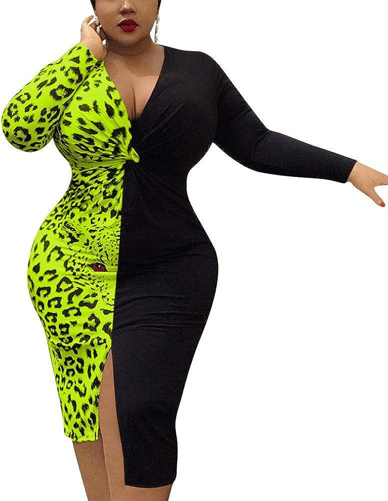 VKVKA Women' Plus Size Leopard Dress, Sexy Tight-Fitting Deep V-Neck Leopard-Print Dress