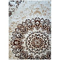 Super Area Rugs, Neutral Distressed Medallion Damask Area Rug Stain Resistant Gray Brown Ivory Beige Carpet, 2 2 x 3 11