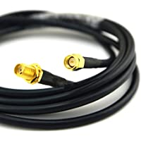 SMA Female to SMA Male Extension Coaxial Cable 15-Meter(49.2 Ft) Low Loss RG58 SMA Connector and Two-Way Radio Applications