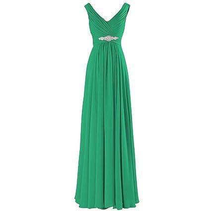 ASVOGUE Mujer Prom Vestido Largo de Noche Gasa A-Línea Cuello V Elegante, Púrpura Profundo S: Amazon.es: Ropa y accesorios