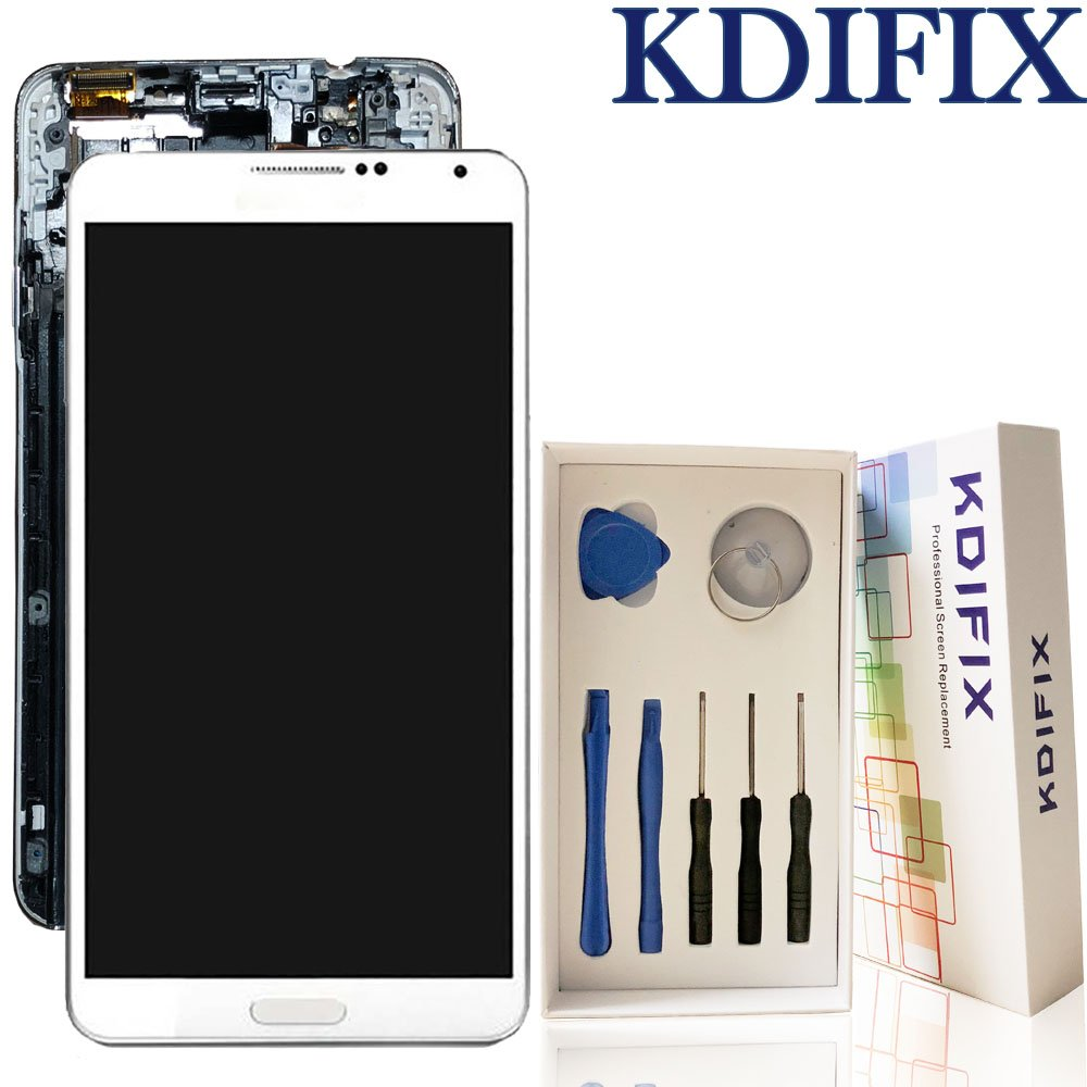 KDIFIX For Samsung Galaxy Note 3 N9000 N9005 SM-N900 LCD Touch Screen Assembly + Frame with Full Professional Repair Tools kit (WHITE+FRAME)