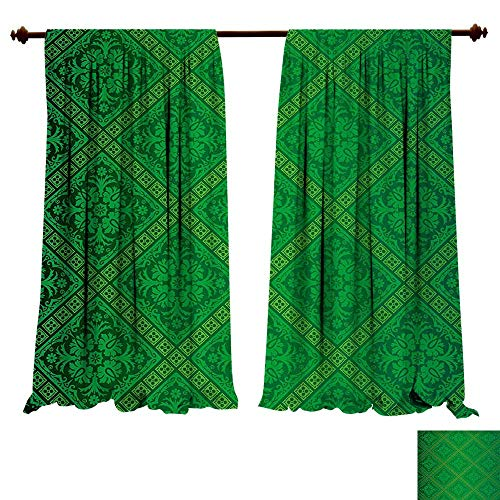 Pattern Sherry Kline (fengruiyanjing-Home Thermal Insulated Grommet Green Vector Illustration Seamless Pattern of Foliage Wallpaper Ative Pattern Forest Green Blackout Curtains for Bedroom (W72 x L72 -Inch 2 Panels))