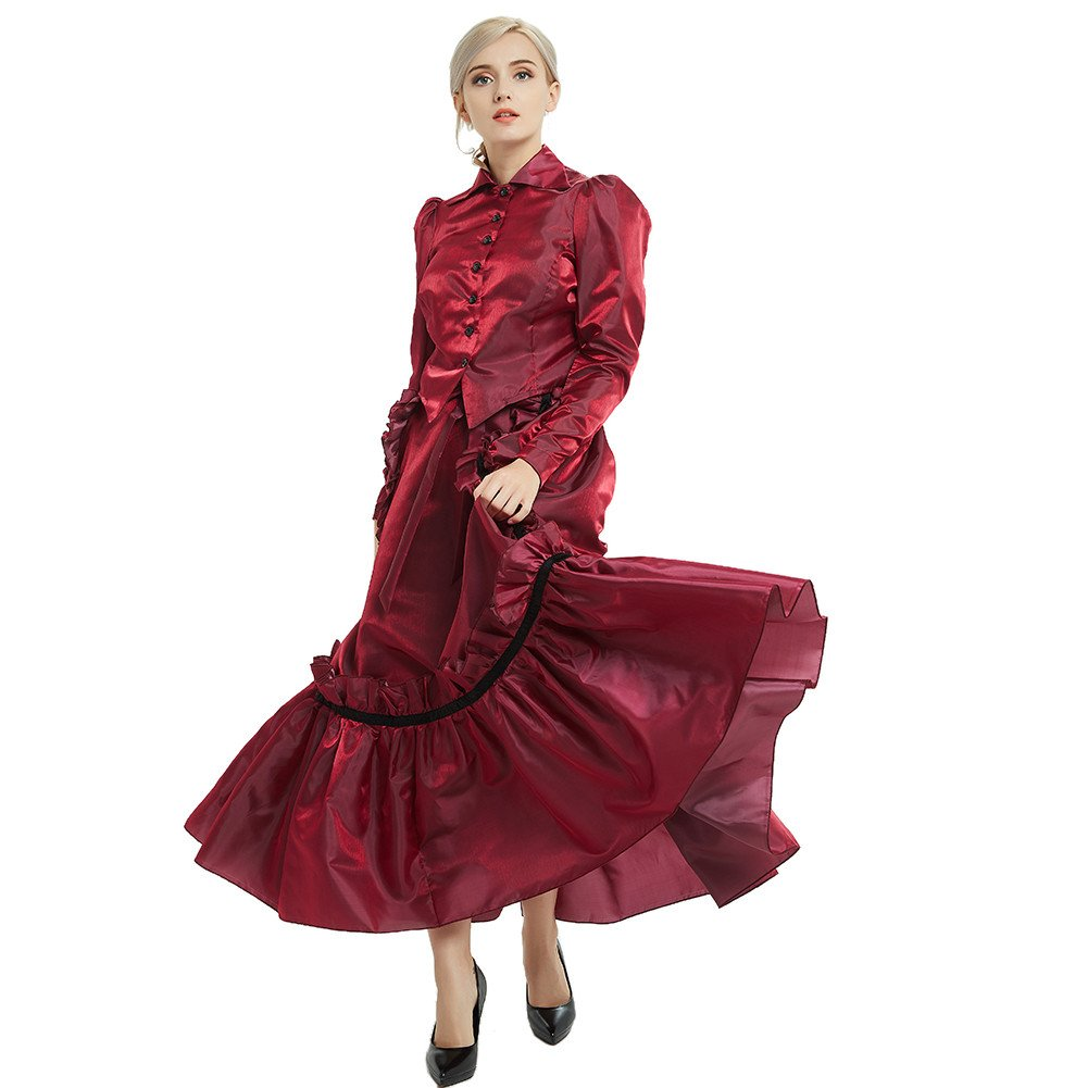 GRACEART Steampunk Girl Costume Edwardian Dress with Bustle Top Skirt