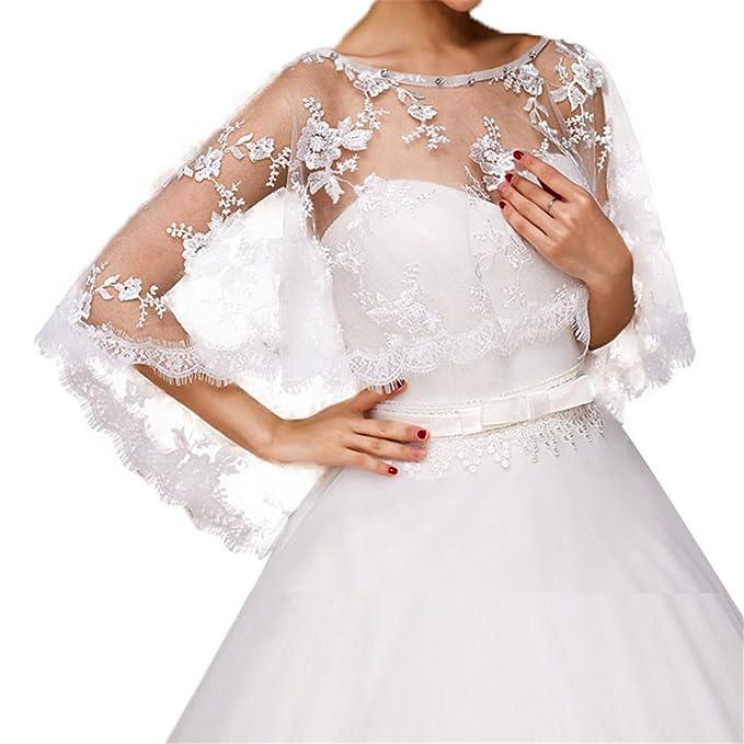 95476177d0 Women Lace Bridal Shawl Wrap Shrug Bolero Wedding Tulle Cape for Bride  (1013)