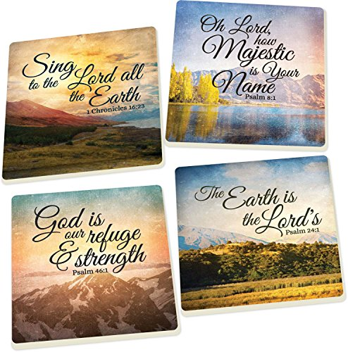 - Scenic Landscapes, God Is Our Refuge and Strength Scriptures 4 Piece Square Ceramic Coaster Set