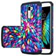 LG K10 Case, LG Premier LTE Case, LG K10 [Shock Absorption / Impact Resistant] 2 in1 Hybrid Dual Layer Armor Defender Protective Case Cover for LG K10 / LG Premier LTE, Rainbow Flower