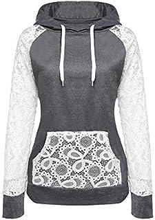 Hirolan Damen Spitze Patchwork Mit Kapuze Sweatshirt Zur Seite fahren Kapuzenpullover Mantel Oberbekleidung Tops