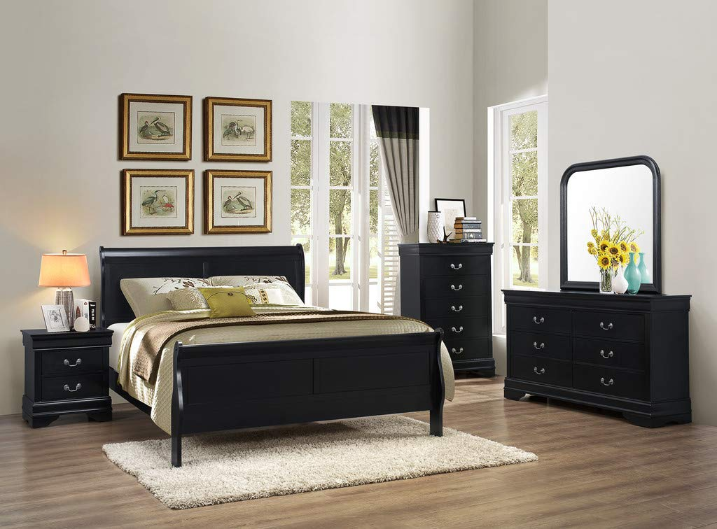 GTU Furniture Classic Louis Philippe Styling Black 5Pc Full Bedroom Set(F/D/M/N/C)