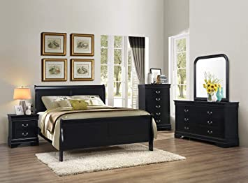 GTU Furniture Classic Louis Philippe Styling Black 6Pc Wooden King Bedroom  Set(K/D/M/2N/C)