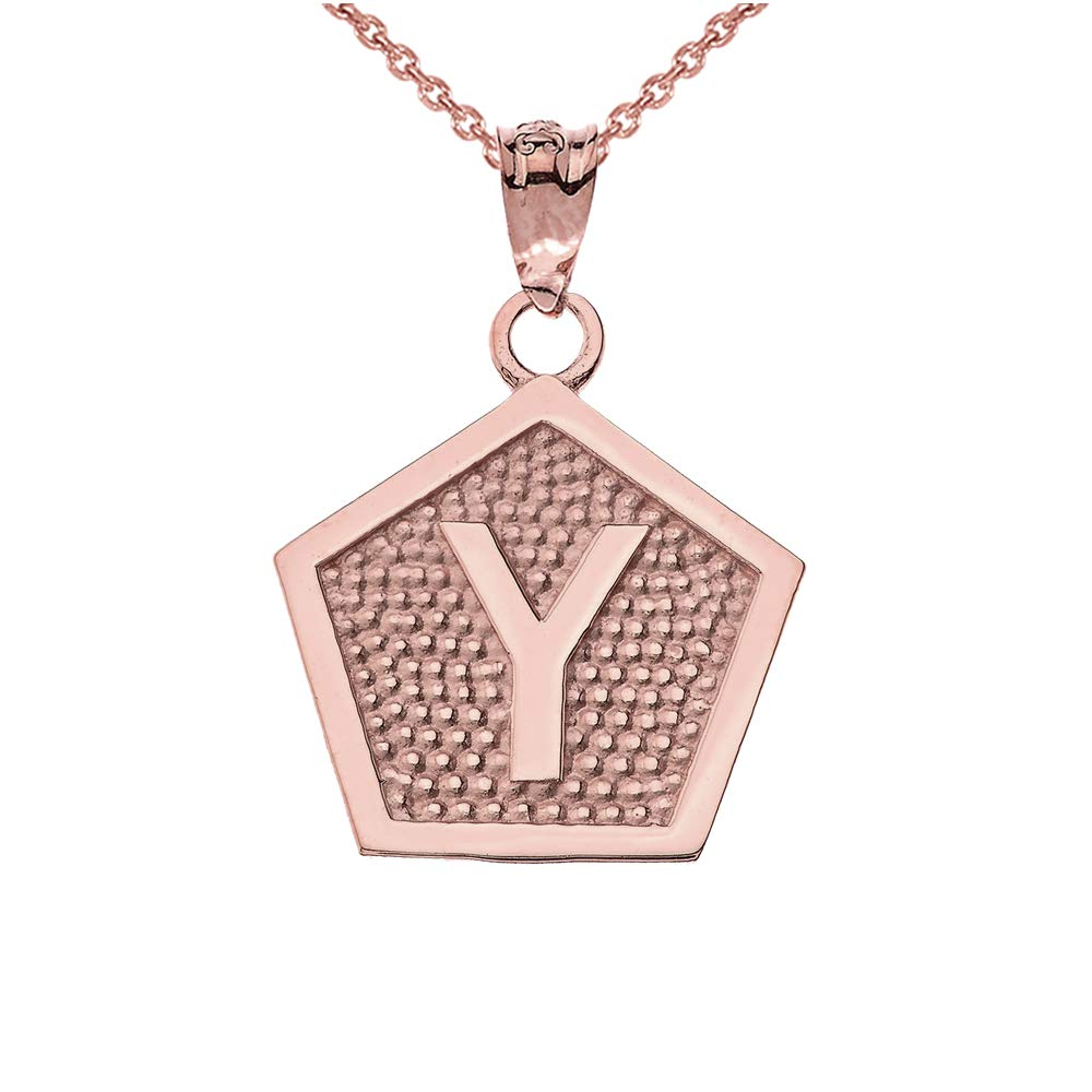 LA BLINGZ 14K Rose Gold Letter Initial Alphabet Pentagon Necklace