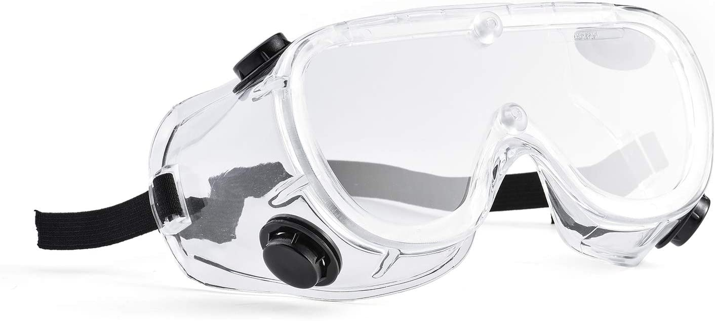 SAFEYEAR Anti Fog Safety Goggles- Scratch Resistant & UV Protection HD Safety Glasses for Men,Eye Impacted Protective Work Goggles Over Spectacles for DIY, Lab, Welding, Grinding, Cycling (White)