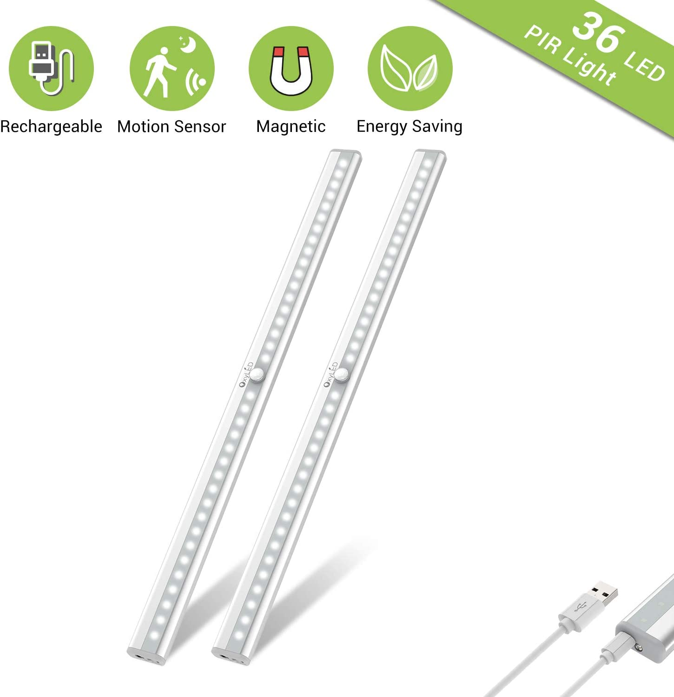 64 LEDs USB Rechargeable PIR Motion Sensor Closet Wireless Under Cabinet Lights