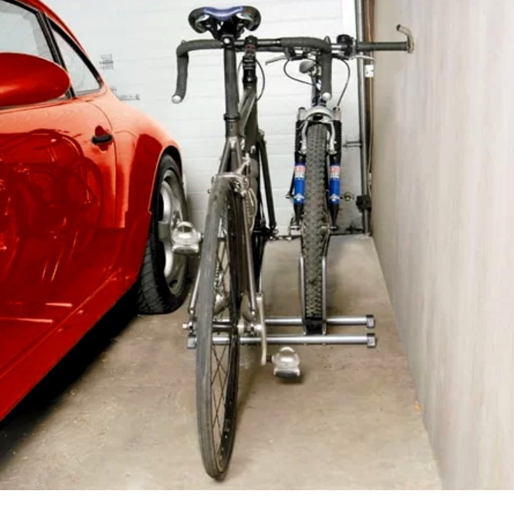 バイクラックスタック2のバイク、ユニバーサル現代メタルFree Standing Modern自転車スタンドストレージラック& e-book B07B6Q8WDQ
