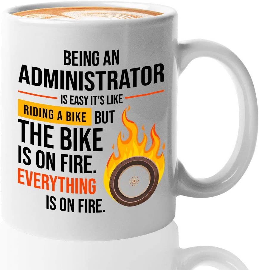 Administrator Mug, Auditor Mug School Administrator Gifts for Nursing Home Admin Database Network Engineer Tech Support Administrative Assistant, Being Administrator is Easy it is Like Riding a Bike