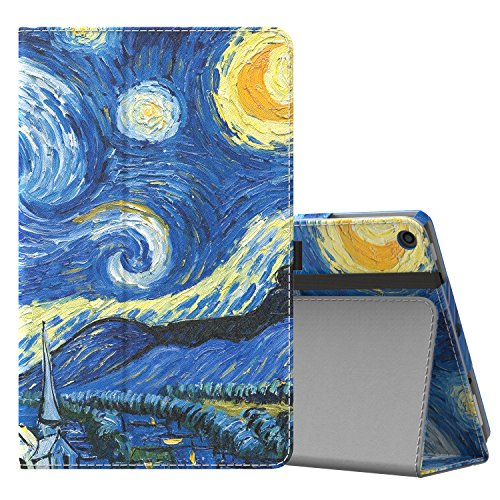MoKo Case for All-New Amazon Fire HD 10 Tablet (7th Generation and 9th Generation, 2017 and 2019 Release) - Slim Folding Stand Cover with Auto Wake/Sleep for 10.1 Inch Tablet, Starry Night