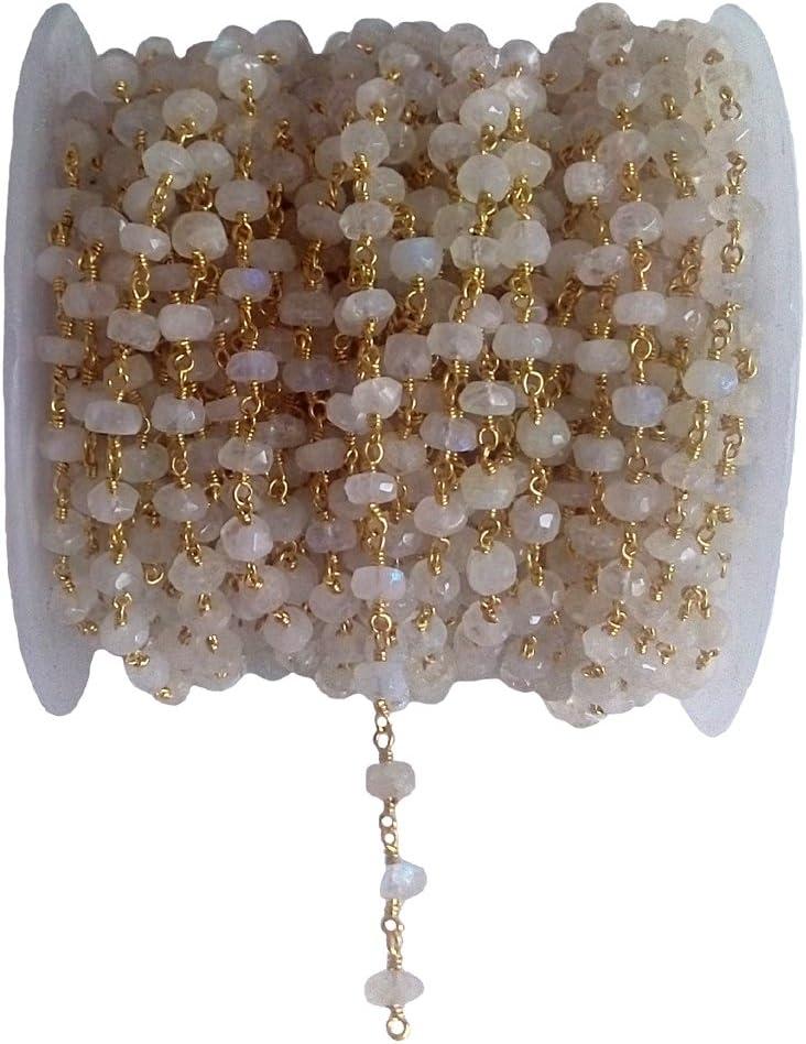 Cadena de cuentas de piedra lunar arcoíris de 6 mm – cadena de rosario – cadena de cuentas semipreciosas de piedras preciosas – piedra lunar arcoíris, cadena de cuentas chapada en oro de 6 mm