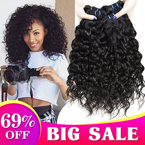 (8A Wet and Wavy Human Hair Weave Bundles Brazilian Water Wave 3 Bundles Brazilian Virgin Curly Hair Bundles 100% Unprocessed Water Wave Human Hair Bundles Curly 10 12 14 Inch Total 300g)
