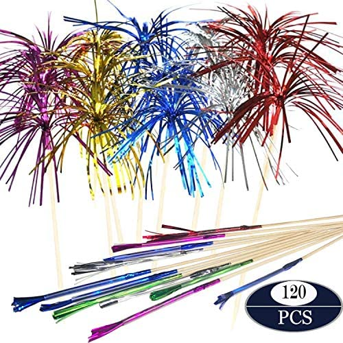 Allazone 120 Stück Cocktail Picks Feuerwerk Party Picks Feuerwerk Kuchen Topper, Sandwich Cocktail Picks, Zahnstocher für Kuchen Dekoration, Party Supplies, Weihnachtsdekoration