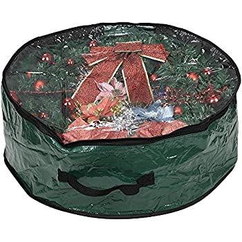 """ProPik Wreath Storage Bag Polyester Tear Resistant Fabric for Holiday Easy Storage with Clear Window Featuring Heavy Handel's and Transparent Card Slot 36"""" X 36"""" X 8"""" (Green)"""