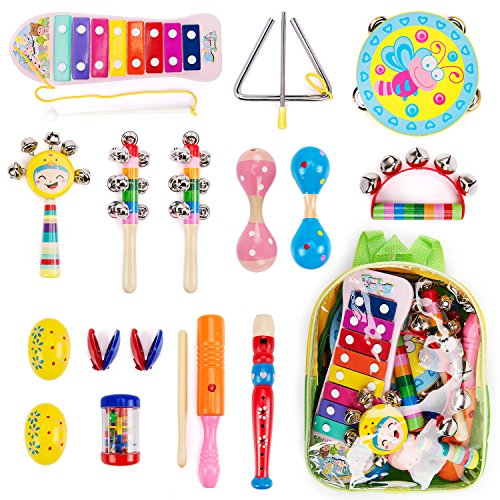 Amagoing 15Pcs Toddler Kids Wood Percussion Musical Instruments Toy Set With Storage Backpack For Early (Musical Percussion)