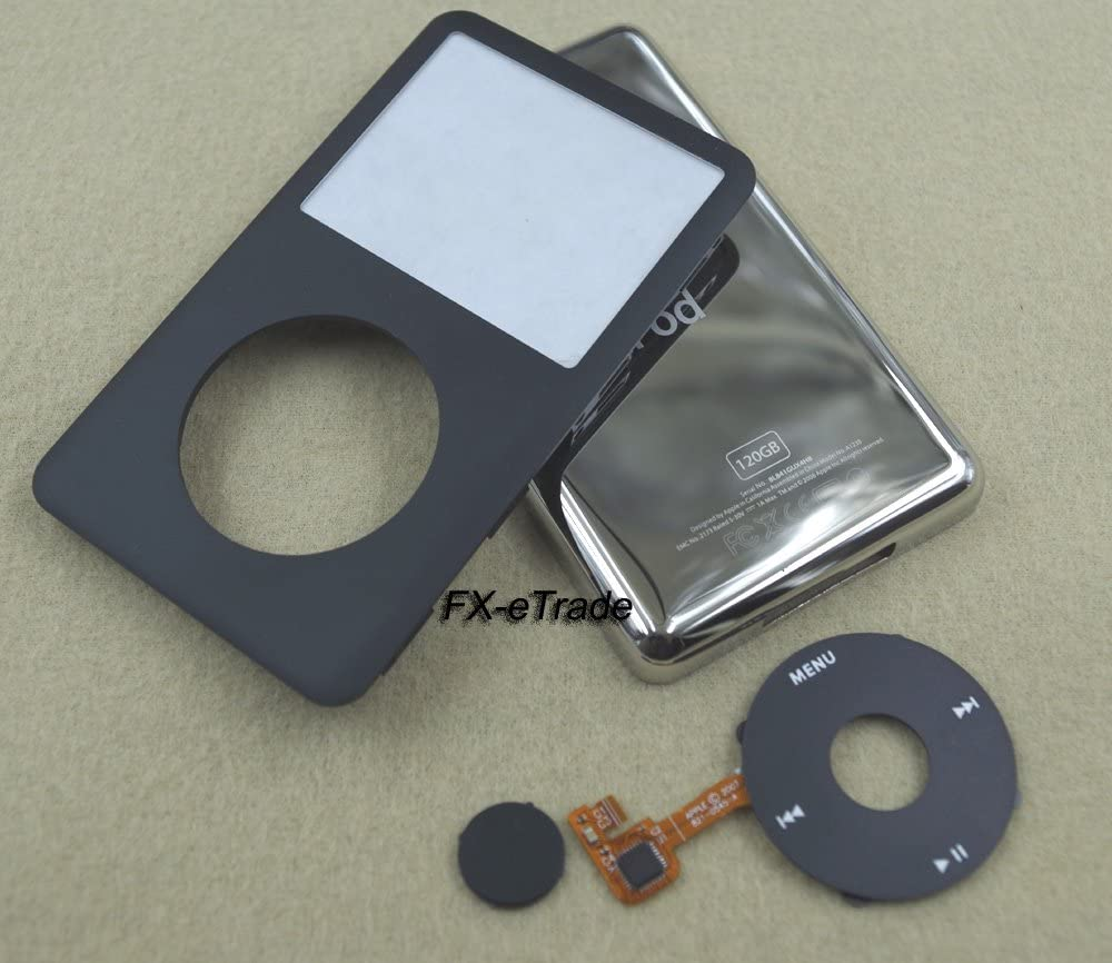 Black Front Faceplate Back Housing Case Cover for iPod 6th Classic 120GB Black