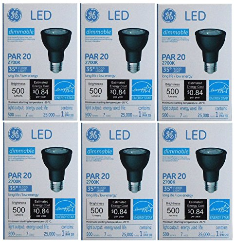 GE LED 7 Watt (70 Watt Equivalent) Indoor Floodlight Bulbs, PAR20 35 Degree Beam, Medium Screw (E26) Base, 500 Lumens, 22.8 Year Life, Black (6 Pack)