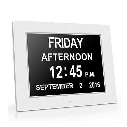 JicFung 1pc Blanco Day Clock Dementia Clock Reloj digital Día Fecha Calendario Relojes para Enfermos de