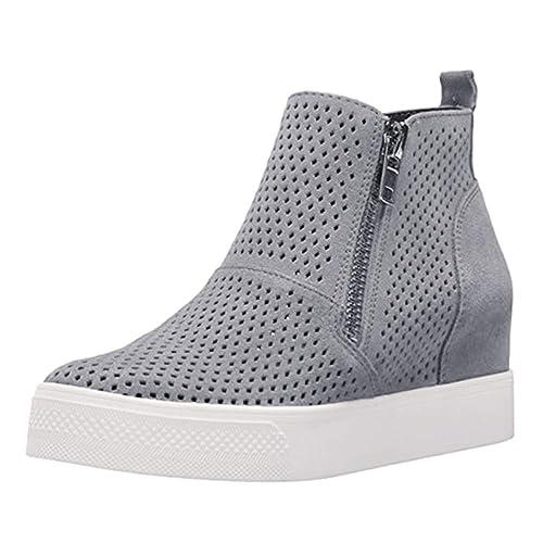 Minetom Zapatillas De Deporte De Cuña para Mujer Hueco Plataforma Mocasines Loafers con Cremallera Respirable Antideslizante Botas Cortas Sneakers: ...
