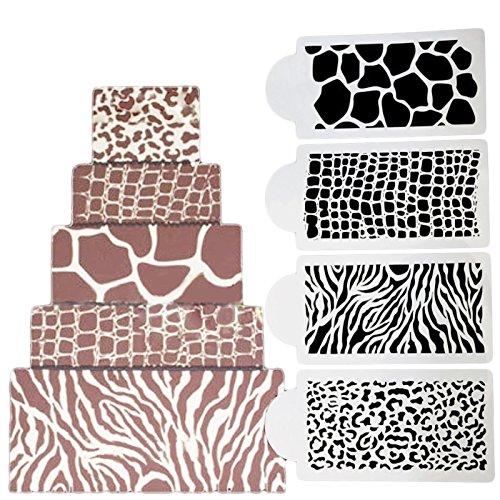 COOKNBAKE Wedding Birthday Cake Decorating Stencil Zebras and Leopard Print Cake Templates Fondant Mold Wedding Cake Stencil Set of 4 YW SNOW