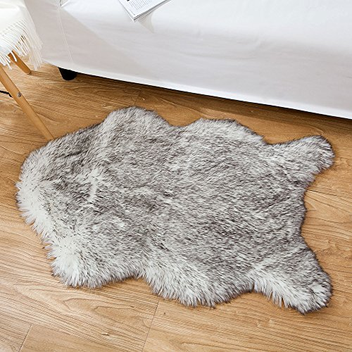 OJIA Deluxe Soft Faux Sheepskin Chair Cover Seat Pad Plain Shaggy Area Rugs For Bedroom Sofa Floor 2ft x 3ft (2ft x 3ft, Grey Mist) (Chair Vanity Rolling)