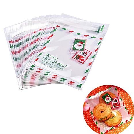 Chytaii 100pcs Bolsa de Dulces de Navidad para Niños Bolsas ...