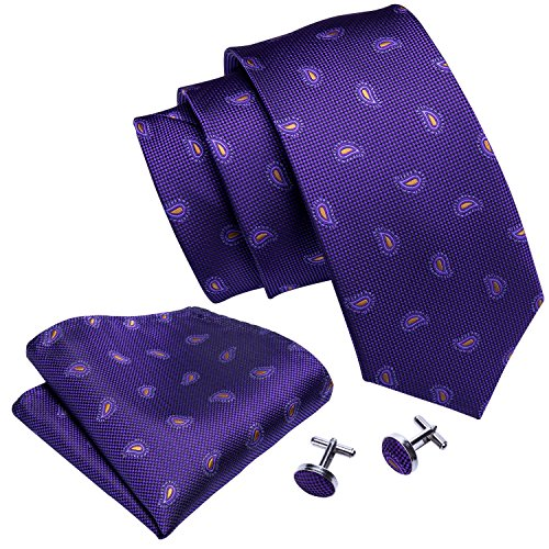 Barry.Wang Paisley Ties for Men Set Silk Necktie Handkerchief Purple