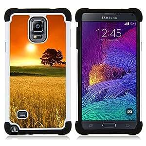 """Pulsar ( Rye Campo Oak Tree Naranja Oro Naturaleza"""" ) Samsung Galaxy Note 4 IV / SM-N910 SM-N910 híbrida Heavy Duty Impact pesado deber de protección a los choques caso Carcasa de parachoques [Ne"""