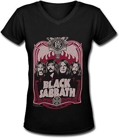 Camiseta Negra de Algod¨®n sab¨¢Tico para Mujer Camisas de Manga Corta con Cuello en V Novedad: Amazon.es: Ropa y accesorios