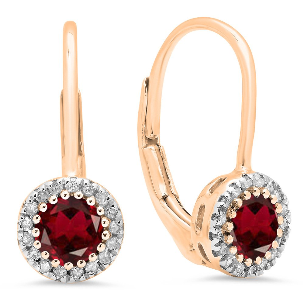 10K Rose Gold Round Garnet & White Diamond Ladies Halo Style Dangling Drop Earrings