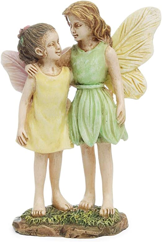 2 Sisters Mini Figurine Fairy Girls Garden Accessory Dollhouse Decor Ornament
