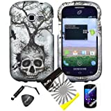 4 items Combo: ITUFFY LCD Screen Protector Film + Mini Stylus Pen + Case Opener + Silver Blue Greyish Tree Skull Design Rubberized Snap on Hard Shell Cover Faceplate Skin Phone Case for Samsung Galaxy Centura S738C / Samsung Galaxy Discover S730G (Straight Talk / Net10/ TracFone), Best Gadgets