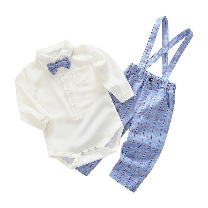 ESHOO bebé niños Manga Larga con Corbata Tirantes Pantalones Ropa Conjunto: Amazon.es: Ropa y accesorios